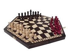 3 THREE PLAYERS WOODEN CHESS SET MEDIUM - RULES INCLUDED - CHECK IT BARGAIN!