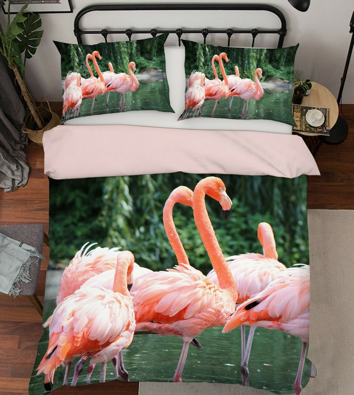 3D rose Flamingos G42 Animal lit PilFaiblecass courtepointe couette Cover Set Queen roi We