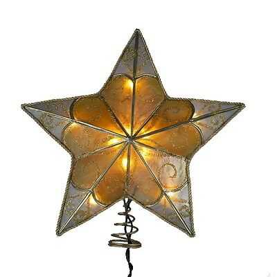 """8½"""" Christmas Tree Topper, 5-Point Star, Gold Scroll Glitter, by Kurt Adler"""
