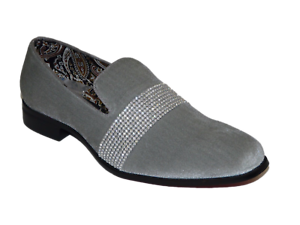 Men Formal shoes After midnight Velvet Crystal stone Gray Slip on 6715 Silver Gray stone 796847