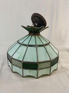 "Vintage Tiffany Inspired Glass Hanging Lamp Green White 16"" DIY Repurpose A1"