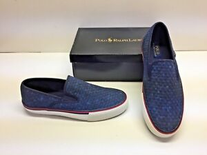 13bca78279269 Ralph Lauren Polo Mytton Woven Slip On Blue Fashion Casual Sneakers ...