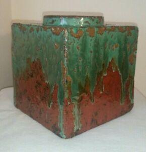 Hamada-Shoji-Style-Pottery-Vase-Press-Molded-Square-Cube-Bottle-Vase