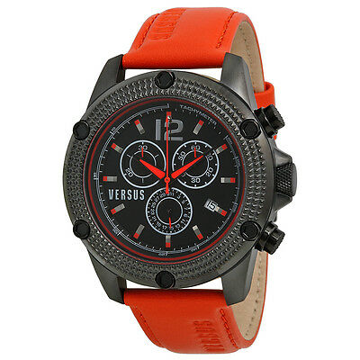 Versus By Versace Aventura Chronograph Black Dial Orange Leather Mens Watch