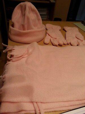 3er-set: Schal,mütze, Handschuhe In Rosa