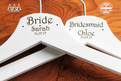 1 Engraved Wedding Dress Hanger in Wood or White Bridal Hanger Personalised