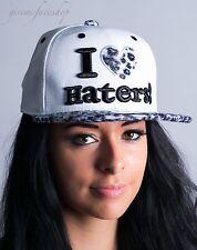 I love haters snapback caps, leopard white mens, ladies flat peak baseball hats