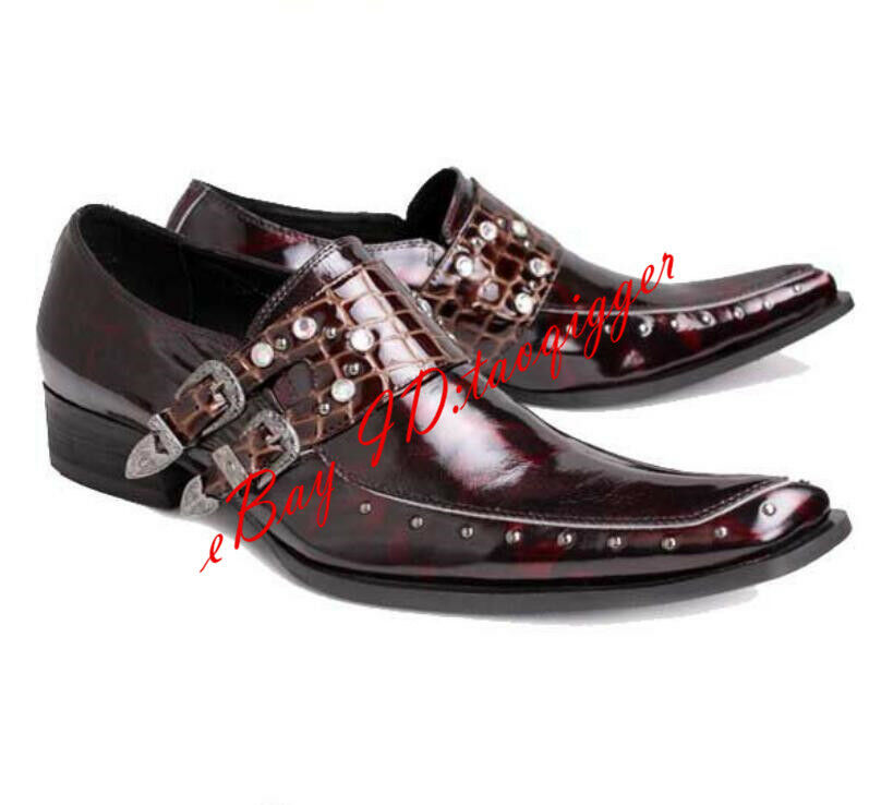 Mens Rivet Buckles Pointed Toe British shoes shoes shoes Croco Formal Dress Slip on Leather bb67f3