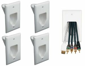 4-x-1-Gang-Recessed-Low-Voltage-Pass-Through-HDMI-Audio-Wall-Cable-Plate-White