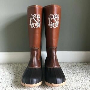 0c886e121758e Details about Monogram Duck Boots, Tall Duck Boots, Personalized Brown /  Black Duck Boots