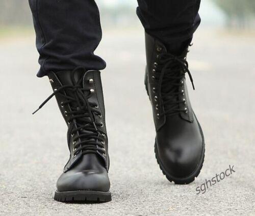 Nouveau Hommes Punk Militaire Combat Bottes Lacets Moto Trucker Biker Chaussures de loisirs