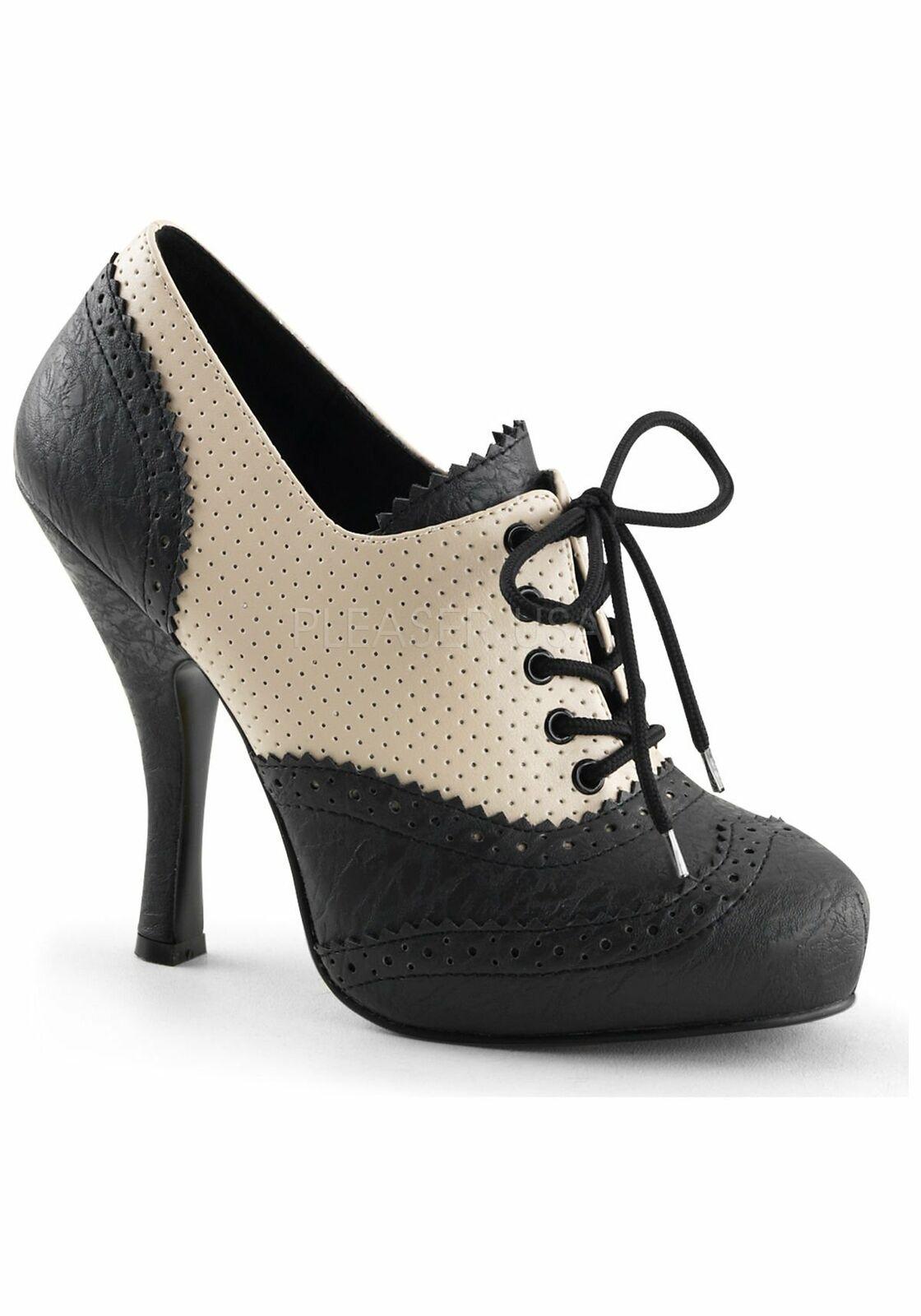 Pin Up Couture 4 1 2'' Heel, 3 4'' 4'' 4'' Hidden Platform Lace-Up Spectator Oxford 53a8d6