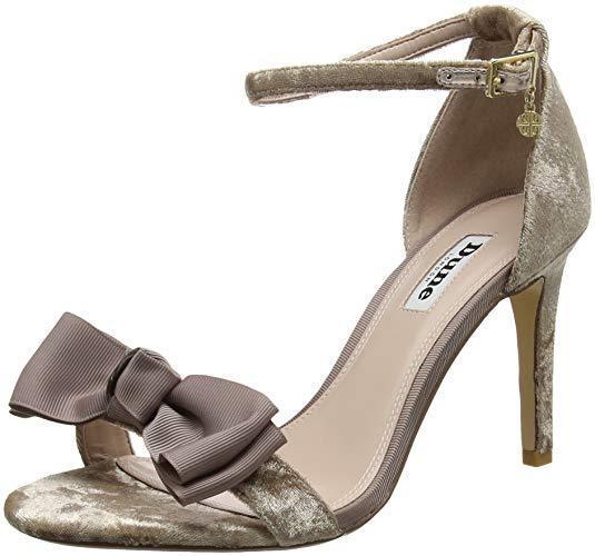 DUNE SIZE 3 5 6 8 MOELLA MINK TAUPE VELVET BOW ANKLE STRAP SANDALS Schuhe