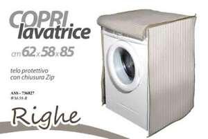 Copri-Lavatrice-con-Telo-Zip-Righe-Protettivo-Felpato-con-Cerniera-62x58x85-New