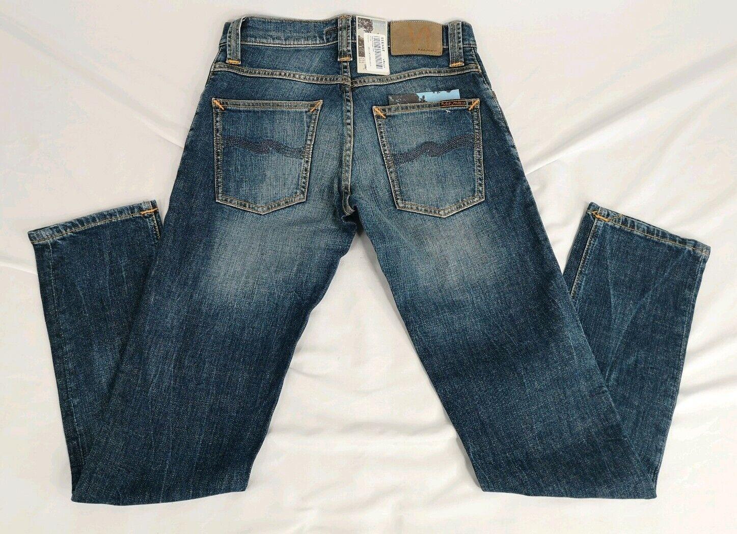 NEW Men's NUDIE Jeans Grim Tim Bright Dawn Size 28x30 Button Fly NWT Stretch