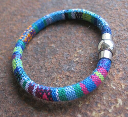 Ethno Armband bunt Herren Damen Herrenarmband blau Stoff Edelstahl Verschluss