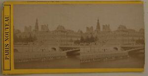 Parigi L Hotel De Ville Francia Foto Stereo P44 Vintage Albumina c1870