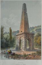 c1850 Vienne Isère Rhône-Alpes Cirque romain Pyramide Coloured Lithograph