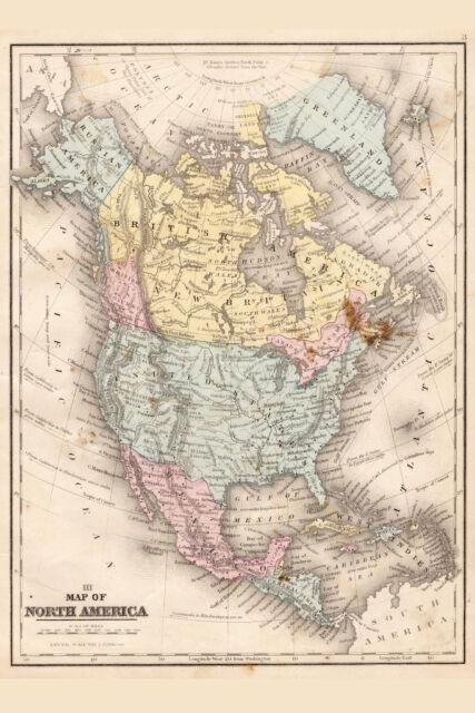 18x24 North America 1703 Historic Spanish Territory Vintage Style Map