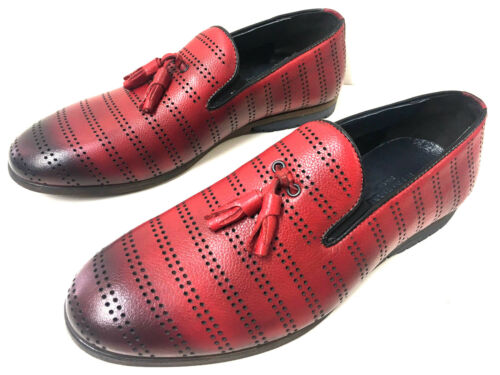 Lochdesign Mocassin Herrenschuhe Loafer Mode Slipper Mokassin Rot Red Neue Leder 8qxFgw4Wt