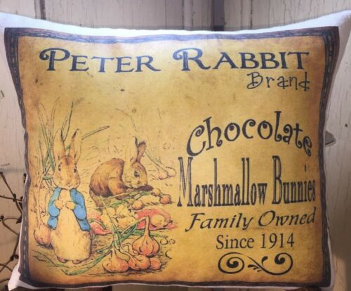 PRIMITIVE VINTAGE STYLE EASTER PETER RABBIT CHOCOLATE MARSHMALLOW BUNNIES PILLOW