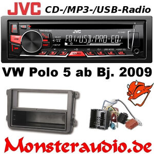 jvc autoradio f r vw polo 5 typ 6r cd mp3 usb radio. Black Bedroom Furniture Sets. Home Design Ideas