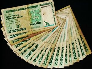 Details About 20 X 25 Billion Zimbabwe Dollars Bank Notes Cheque Paper Money Currency Bundle