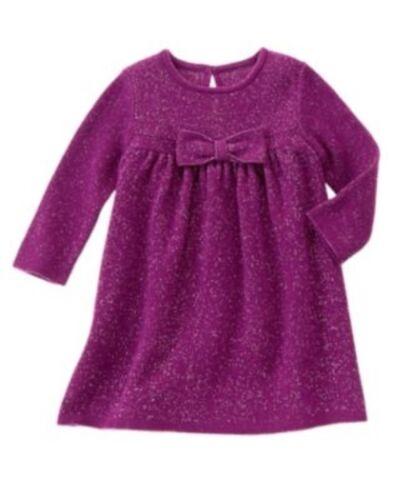 GYMBOREE POLAR PRINCESS PURPLE SPARKLE BOW SWEATER DRESS 0 3 6 12 18 24 NWT