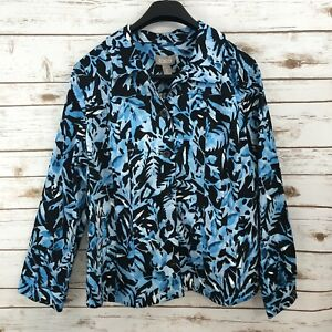 eeec4eac03519b NWT Chico s Women s Button Down Jacket Stretch Blue Leaf Floral ...