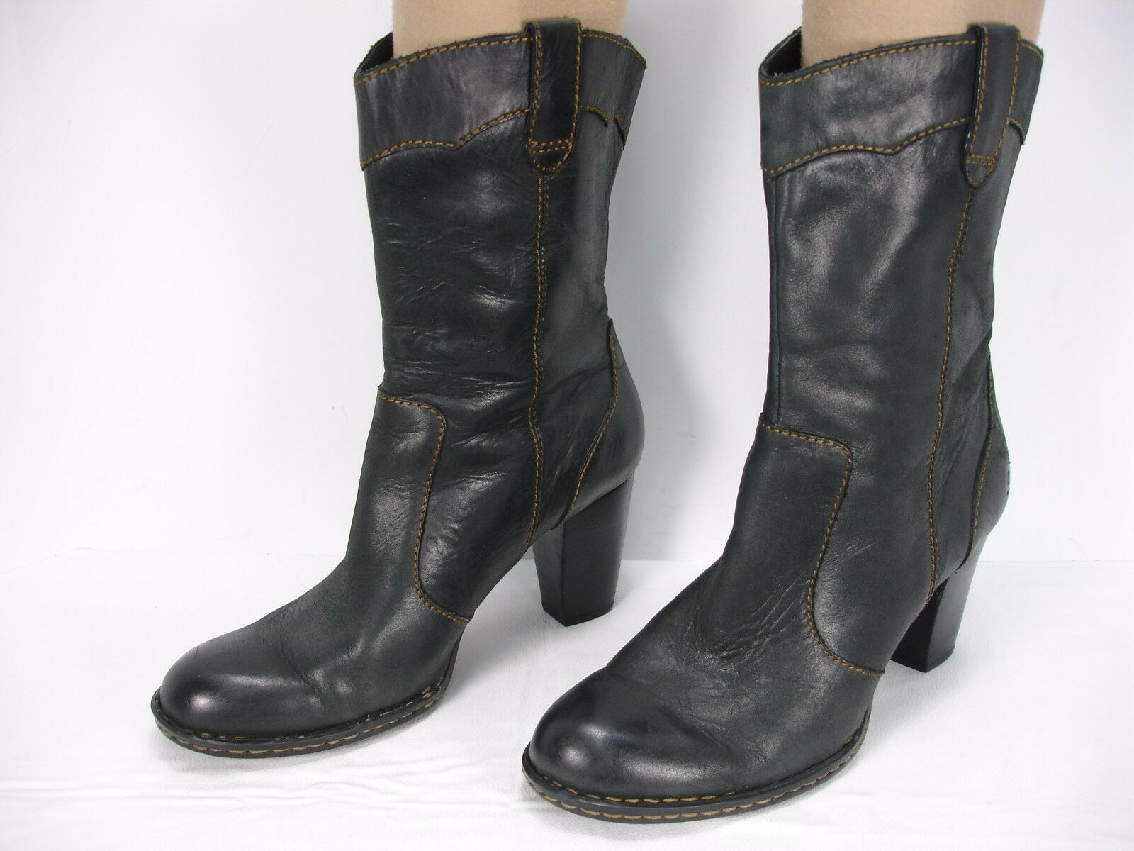 BORN CHARCOAL LEATHER PULL ON WESTERN ANKLE BOOTS WOMEN'S 8.5 M