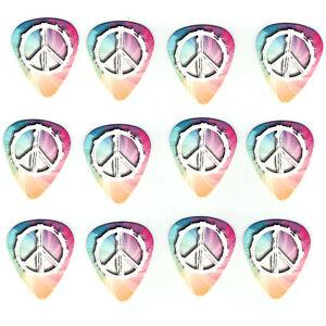 12-Pack-PEACE-LOVE-HIPPIE-RAINBOW-SWIRL-Medium-Gauge-351-Guitar-Picks-Plectrum