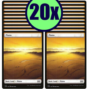 20x PLAINS 373 Double Masters Full Art Basic Land NM/LP MTG Magic the Gathering