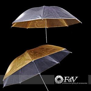 F-amp-V-110cm-Studio-Lighting-GOLD-SILVER-Umbrella-Shaft-Mega-Brolly
