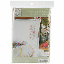 """Dimensions Stamped Embroidery Pillowcase Pair 20/""""X30/""""-Daisy Monogram"""