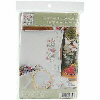 TOBIN STAMPED  FOR EMBROIDERY PAIR PINK FLORAL PILLOWCASES