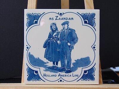 HOLLAND AMERICA CRUISE LINE MS Zaandam III Delft tile HAL coaster cork backing