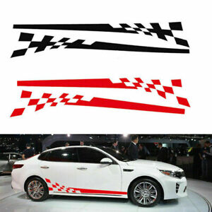 2x-Auto-Car-Side-Body-Door-Graphics-Chequered-Flag-Stripes-Vinyl-Decals-Stickers