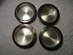 Vintage Lot Set of 4 W&S Blackinton Fine Silver Plated Coasters w/Glass Inserts
