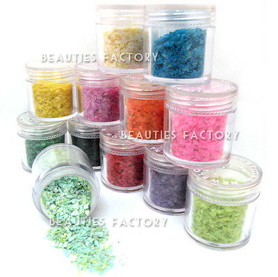 12 x Crushed Shell Glitter Nail Art Tips Decoration Buy 1 Get 1 Free (#419x2)