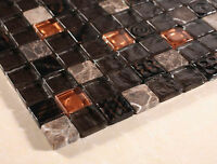 1 X 1 Black Gold Glass And Marble Tile