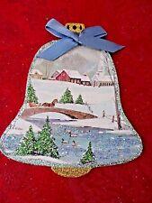 Vintage Image Glittered CHRISTMAS Ornament - PEACEFUL WINTER SCENE