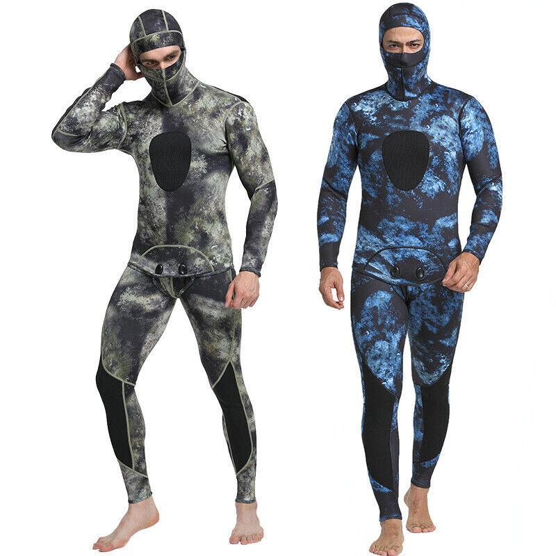 1.5mm 2 Stuk Camouflage Spearfnetwerking Surf Scuba Hooded Hood mannen Wetsuit
