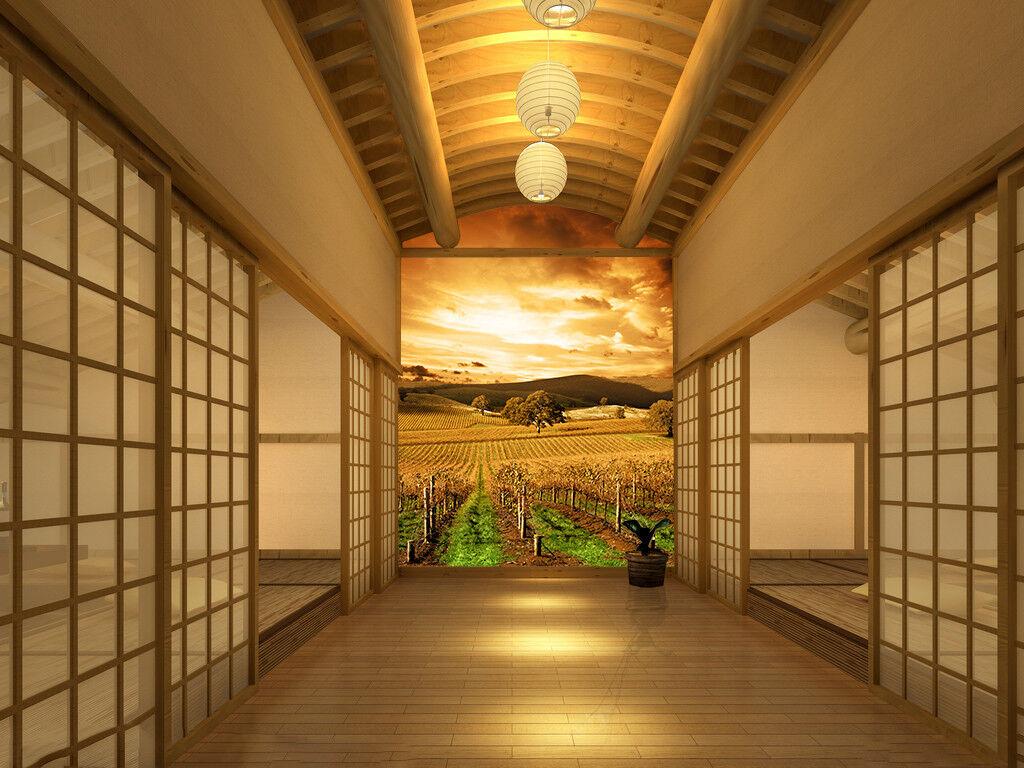 3D Dämmerung Farm 7252 Tapete Wandgemälde Tapete Tapeten Bild Familie DE Summrr