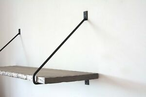 Details about PAIR of Minimalist BLACK Round Steel Metal Shelf Brackets -  Shelving Supports