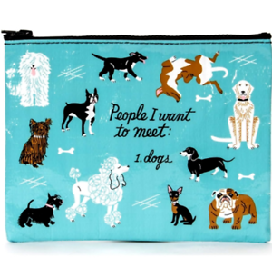 """Blue Q /""""People I Want to Meet 1.Dogs/"""" large zipper pouch case bag funny gift"""
