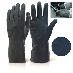 Extra Heavy Duty INDUSTRIAL Black Rubber Latex Gloves Household Long Gauntlet