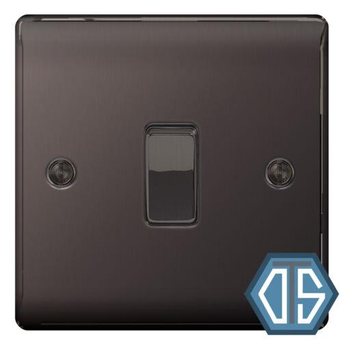 BG Nexus NBN12 Polished Black Nickel Single Light Switch 1 Gang 2 Way