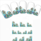 DIY Charm Peacock Feather nail Wraps Water Transfers Stickers Decals Nail Art FT
