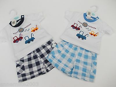 BNWT Baby boys pick up truck summer T-shirt and check shorts outfit