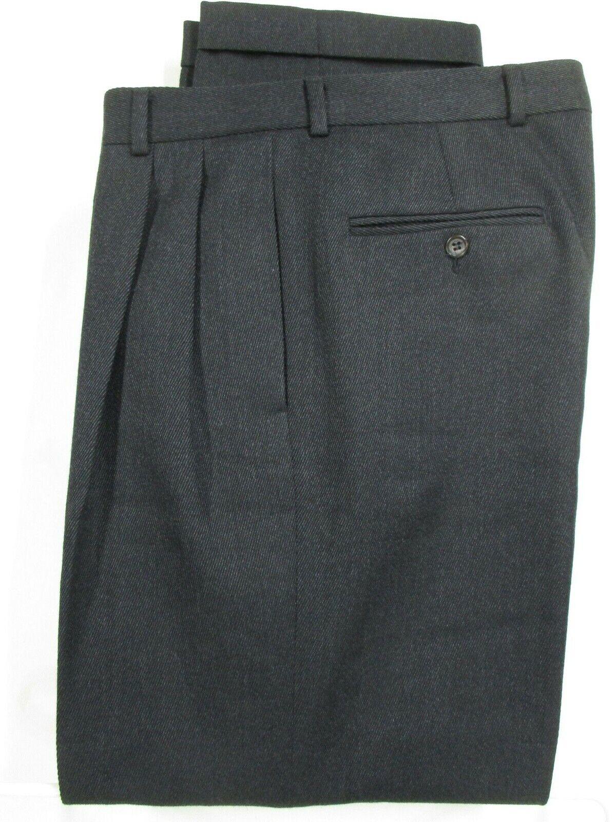 Brooks Bredhers Mens Charcoal Pleated Wool Dress Pants 34x30.5 USA Made